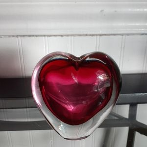 Morano glass heart bud vase